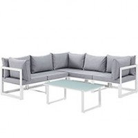 Mod Fortuna 6 piece Outdoor Patio Sectional Sofa Set EEI-1732-WHI-GRY