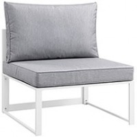 Mod Fortuna Armless Outdoor Patio Sofa EEI-1520-WHI-GRY