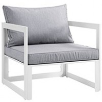 Mod Fortuna Outdoor Patio Armchair EEI-1517-WHI-GRY