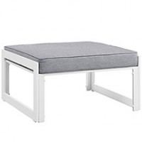 Mod Fortuna Outdoor Patio Ottoman EEI-1521-WHI-GRY
