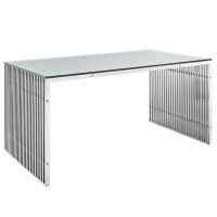 Mod Gridiron Stainless Steel Dining Table EEI-1433-SLV