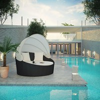 Mod Siesta Canopy Outdoor Patio Daybed EEI-642-EXP-WHI