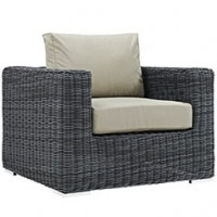 Mod Summon Outdoor Patio Fabric Armchair EEI-1864-GRY-BEI