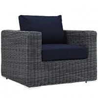 Mod Summon Outdoor Patio Fabric Armchair EEI-1864-GRY-NAV
