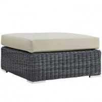 Mod Summon Outdoor Patio Square Ottoman EEI-1875-GRY-BEI