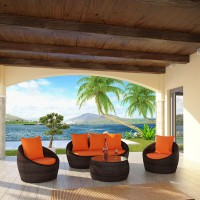 Mod orange patio set display