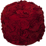 SY Pouf Felted Floral bright red roses pouf27