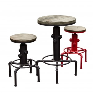 DS Bistro Table Brooklyn $190 weathered grey timber with black or red coated iron