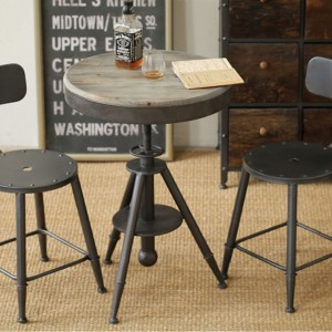 DS Bistro Table Douglas $190 weathered grey timber seat and coated iron
