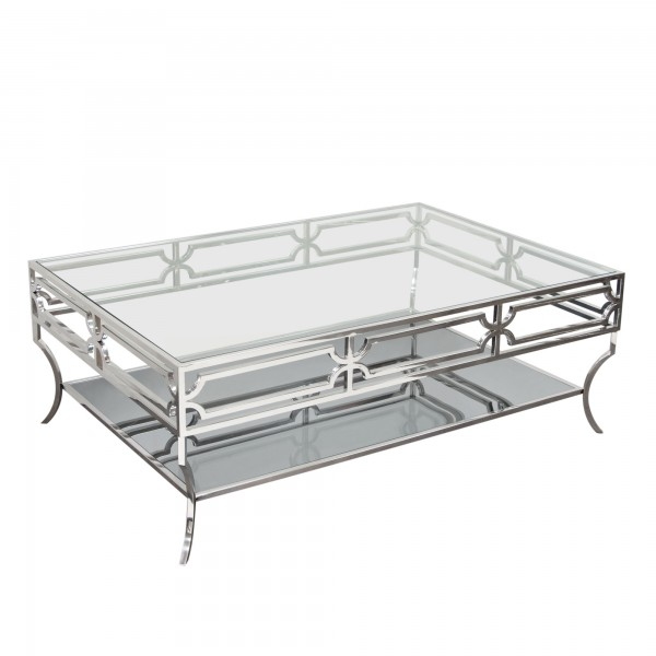 DS Coffee Table Avalon $750 clear glass stainless steel and mirrored base