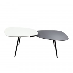 DS Coffee Table Bistro $150 in matte white grey top and black legs