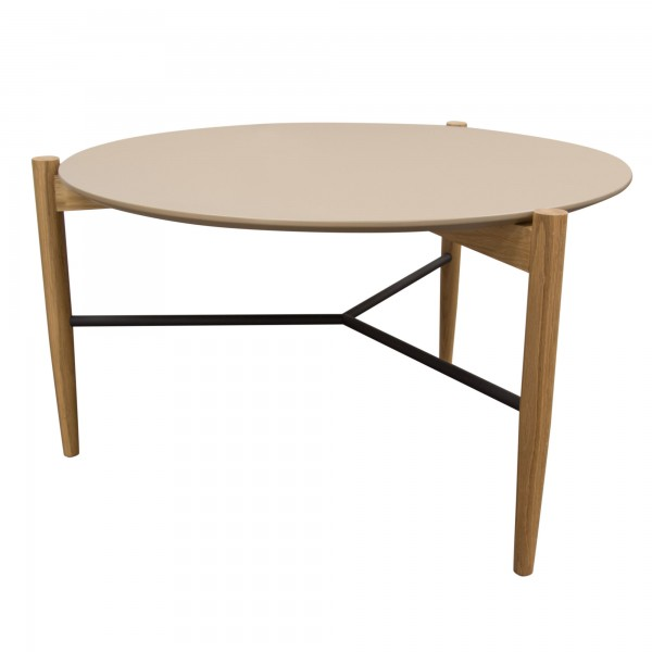 DS Coffee Table Karma $140 in matte taupe top oak legs and metal rails