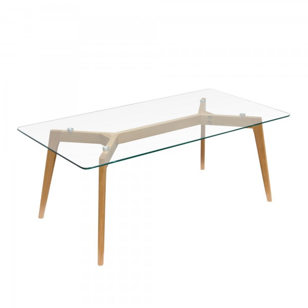 DS Coffee Table Monarch $200 in glass top and oak legs