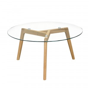 DS Coffee Table Round Monarch $185 in glass top and oak legs