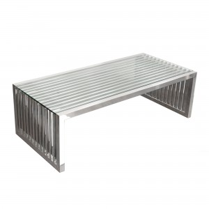 DS Coffee Table Soho $375 clear glass and stainless steel