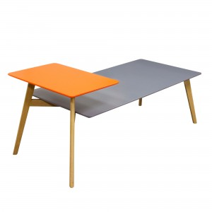 DS Coffee Table Tangent $150 in matte grey orange and oak legs