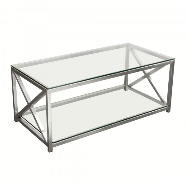 DS Coffee Table X Factor $340 in clear glass and brushed stainless steel