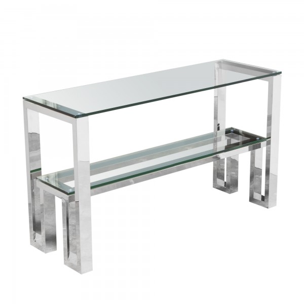 DS Console Table Carlsbad $390 in clear glass and stainless steel