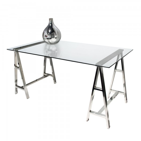 DS Desk Deko $390 in clear glass and stainless steel