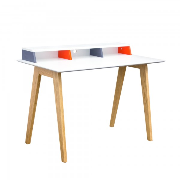 DS Desk Tangent $250 in matte white grey orange and oak legs