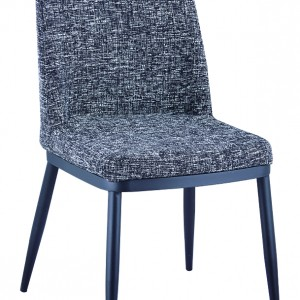 DS Dining Chair Tempo $80 in grey fabric and powder coated legs