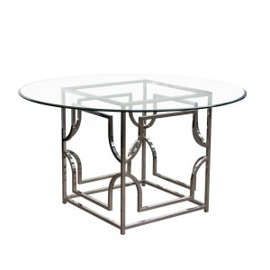 DS Dining Table Avalon $700 clear tempered glass top and stainless steel base