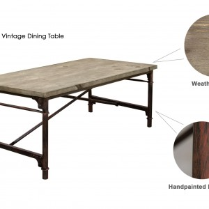 DS Dining Table Dixon $500 weathered grey timber and coated iron