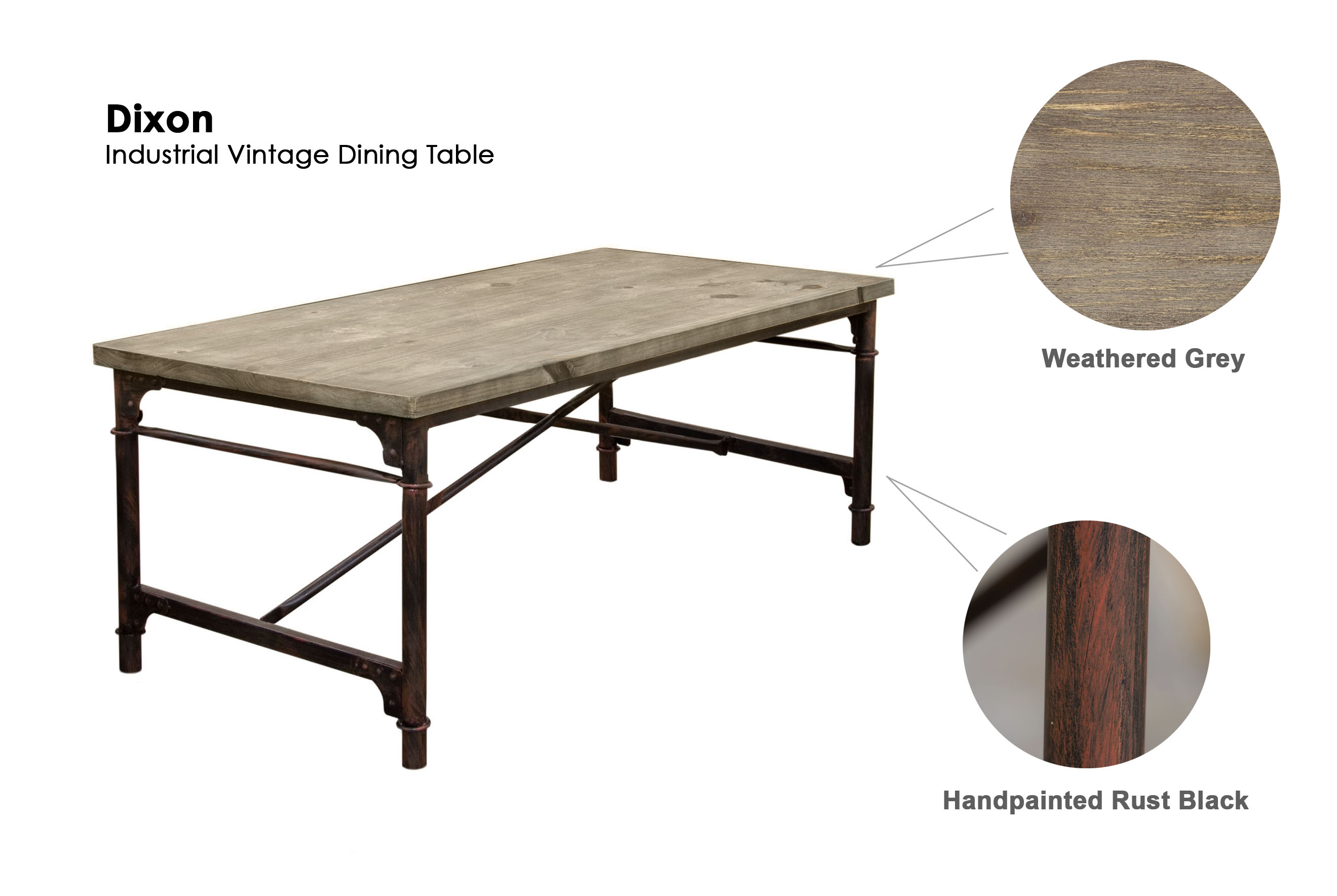 DS Dining Table Dixon  POP N Décor - Weathered dining table