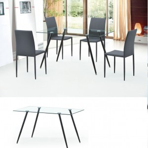DS Dining Table Finn $150 in glass top and metal legs