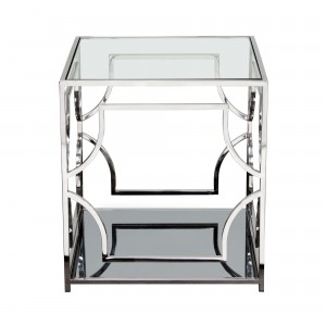 DS End Table Avalon $350 clear glass stainless steel and mirrored base