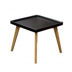 DS End Table Cafe tray edge $115 in matte black or taupe and oak legs