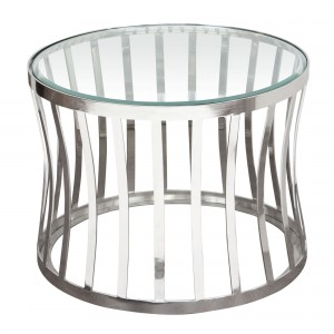 DS End Table Capri $225 clear glass and stainless steel