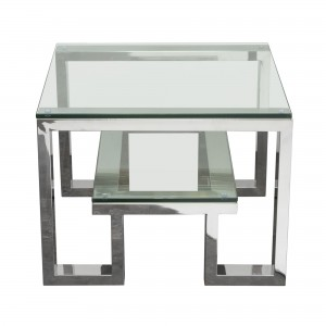 DS End Table Carlsbad $290 in clear glass and stainless steel