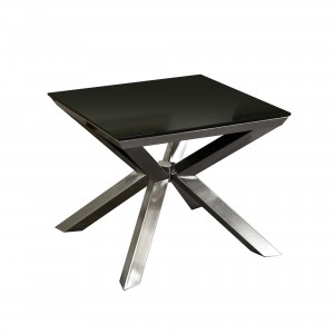 DS End Table Metro $350 in black tempered glass top and nickel legs