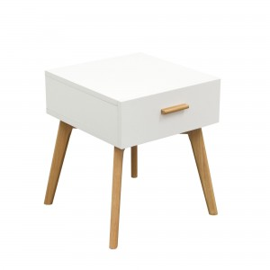 DS End Table Perch $150 in matte white and oak legs with drawer