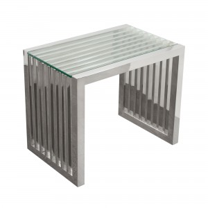 DS End Table Soho $250 clear glass and stainless steel