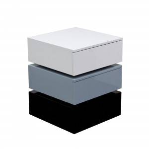 DS End Table Spark $225 in gloss white grey black with drawers