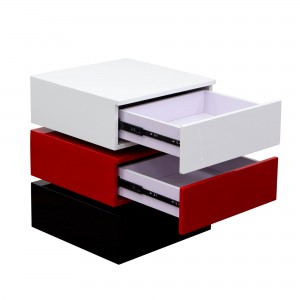DS End Table Spark $225 in gloss white red black with drawers