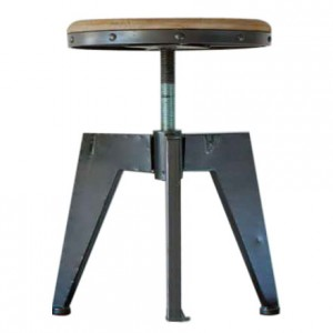 DS Stool Austin $90 weathered grey timber seat and coated iron