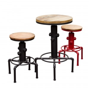 DS Stool Brooklyn $90 weathered grey timber with black or red coated iron