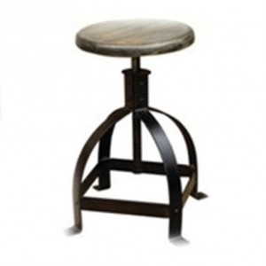 DS Stool Davis $90 weathered grey timber seat and coated iron