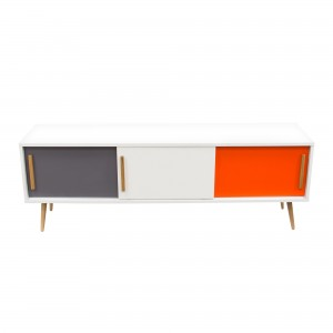 DS TV Cabinet Tangent $380 in matte white grey orange and oak legs
