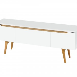DS TV Cabinet Vision $490 in matte white and oak legs