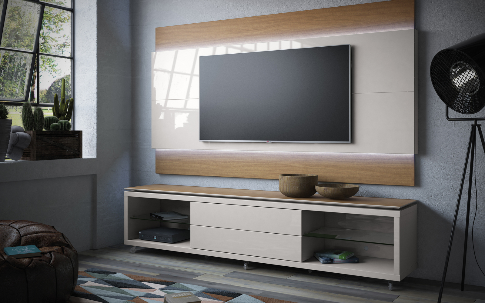 Mc Lincoln 24 Tv Stand And Panel Maple Cream Pop N Décor