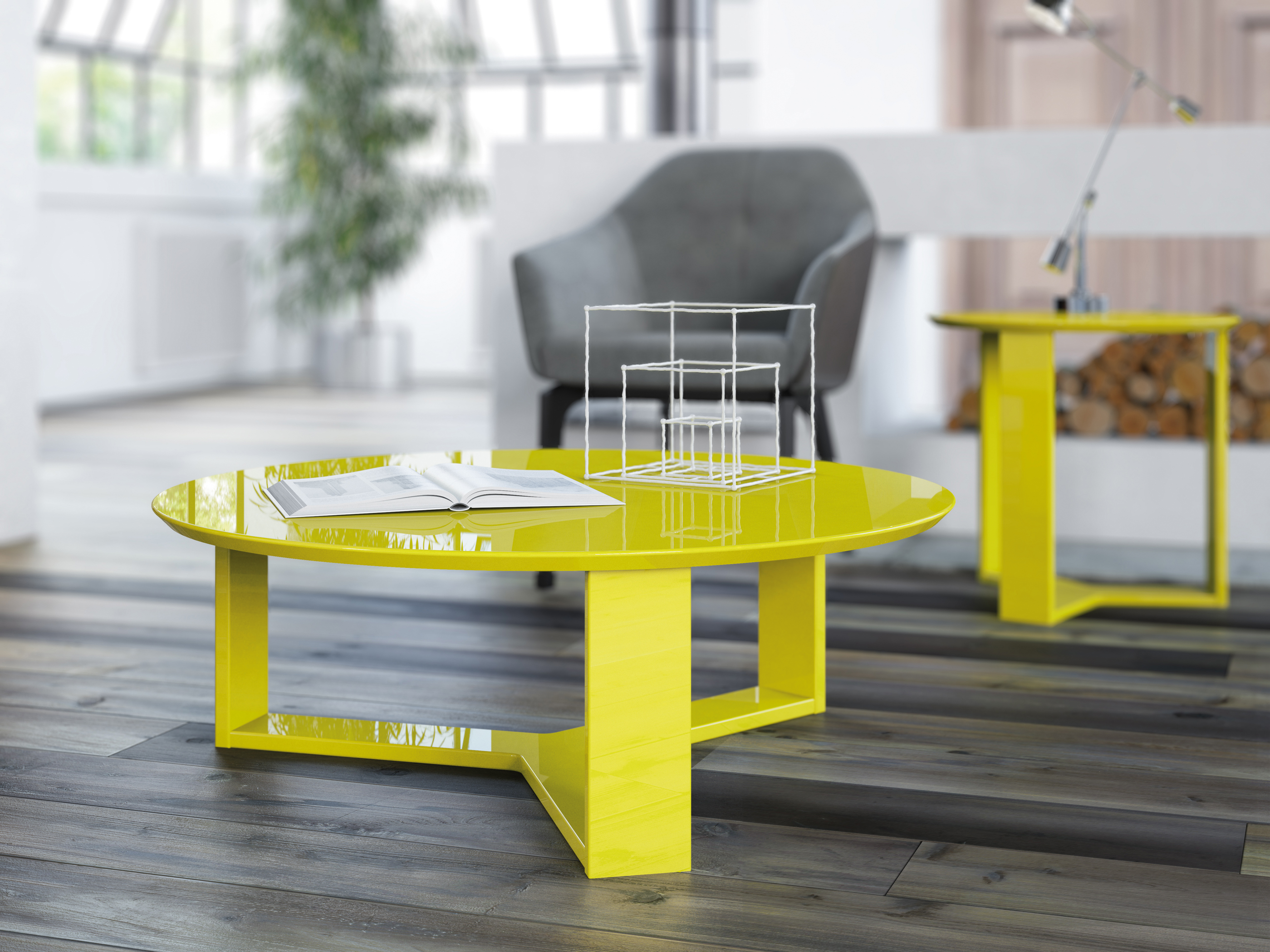 MC Coffee and Side Table Set Yellow Gloss – POP n Décor